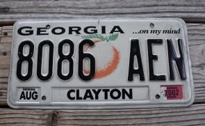 Georgia On My Mind License Plate 2002