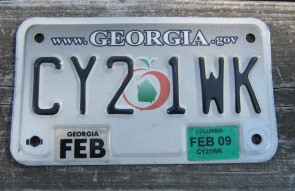 Georgia Motorcycle License Plate Grey Fade Peach 2009