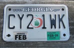 Georgia Motorcycle License Plate Grey Fade Peach 2009