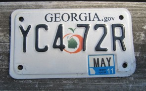 Georgia Motorcycle License Plate White Peach 2011