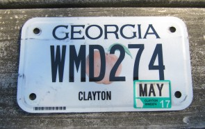Georgia Motorcycle License Plate White Peach Flat 2017