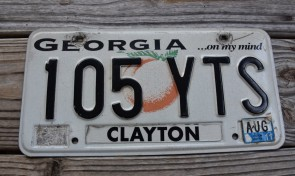 Georgia On My Mind License Plate 2011