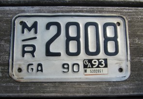 Georgia Motorcycle License Plate Black White 1993