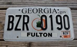 Georgia Peach License Plate 2012