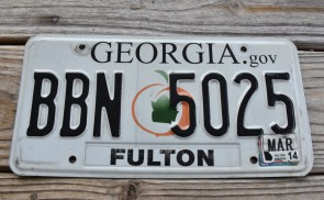 Georgia Peach License Plate 2014