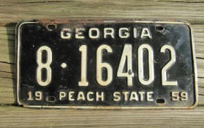 Georgia Black White License Plate 1959
