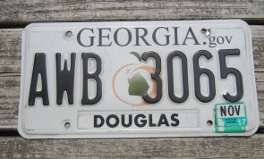Georgia Peach License Plate 2017