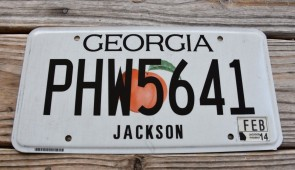 Georgia White Peach License Plate 2014