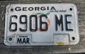 Georgia Motorcycle License Plate On My Mind Peach 2012