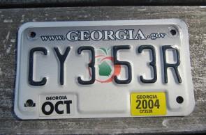 Georgia Motorcycle License Plate Grey Fade Peach 2004