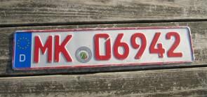 Germany Dealer License Plate City of Märkischer Kreis, North-Rhine-Westphalia MK 06942
