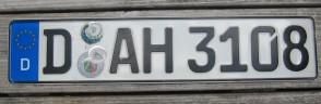 Germany Euroband License Plate City of Düsseldorf, North-Rhine-Westphalia D AH 3108 German