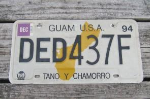 Guam USA Map License Plate Tano Y Chamorro 1994