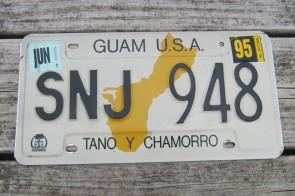 Guam USA Map License Plate Tano Y Chamorro 1995