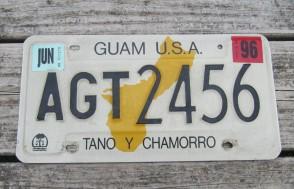 Guam USA Map License Plate Tano Y Chamorro 1996