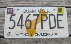 Guam USA Map License Plate Tano Y Chamorro 1998