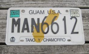 Guam USA Map License Plate Tano Y Chamorro 2003