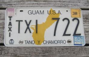 Guam USA Map Taxi License Plate Tano Y Chamorro 2001