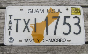 Guam USA Map Taxi License Plate Tano Y Chamorro 2004