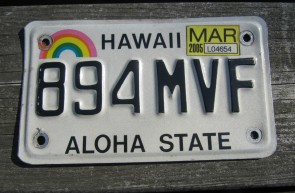 HawaII Motorcycle Rainbow  License Plate 2005 Aloha State