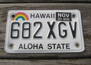 HawaII Rainbow Motorcycle License Plate 2014 Aloha State