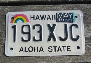 Hawaii Motorcycle Rainbow  License Plate 2002 Aloha State