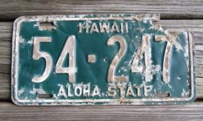 Hawaii Green White Aloha State License Plate 1961 Aloha State