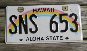 Hawaii Rainbow Aloha State License Plate