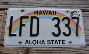 HawaII Rainbow Aloha State License Plate