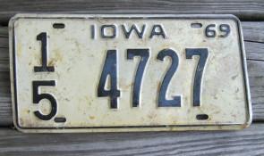 Iowa Black Yellow License Plate 1969