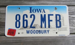 Iowa Farm Scene License Plate Woodbury County 2005