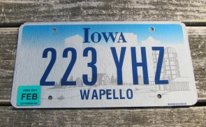 Iowa Farm Scene License Plate Wapello County 2014