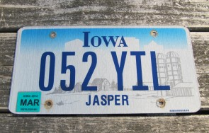 Iowa Farm Scene License Plate Jasper County 2014