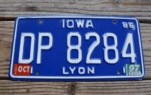 Iowa White Blue License Plate 1997 Lyon County DP 8284