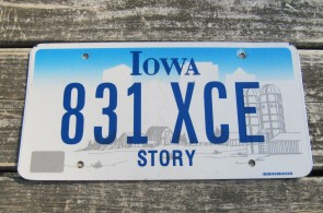 Iowa Blue White Motorcycle License Plate 1990