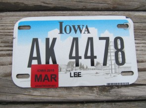 Iowa Motorcycle Farm Scene License Plate 2015