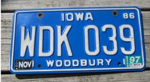 Iowa White Blue License Plate 1997