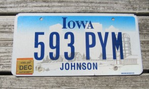 Iowa Black White License Plate 1967