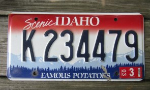 Idaho Scenic Famous Potatoes License Plate 2003