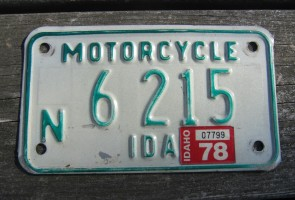 Idaho Motorcycle License Plate Green White 1978
