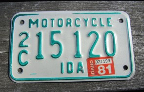 Idaho Motorcycle License Plate Green White 1981