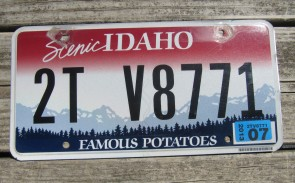 Idaho Scenic Famous Potatoes License Plate 2013
