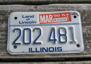 Illinois Motorcycle Land of Lincoln License Plate 1990