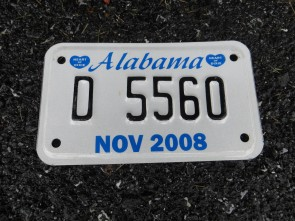 Alabama Dealer Motorcycle License Plate 2008