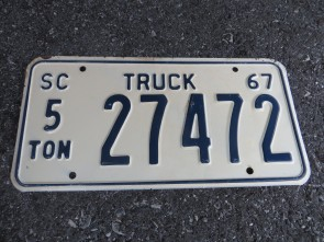 South Carolina 5 Ton Truck License Plate 1967