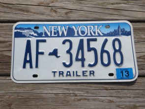 New York Blue White Empire State Trailer License Plate 2013