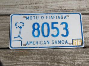 American Samoa Islands Territory License Plate United States 2015
