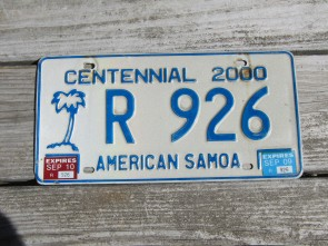 American Samoa Islands Territory Centennial Rental License Plate United States 2010