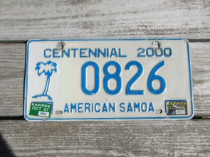 American Samoa Islands Territory Centennial License Plate United States 2007