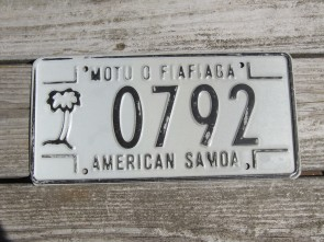 American Samoa Islands License Plate United States 1988